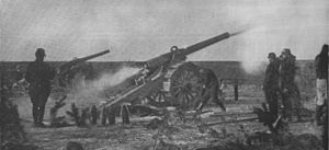 De Bange 155 mm cannon - Battery on cingoli, 1914 or 1915