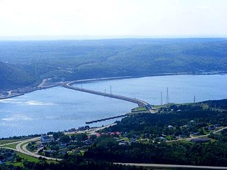 Canso Causeway - The Canso Causeway viewed from the air, looking northwest toward the Aulds Cove (mainland) side from the Port Hastings (Cape Breton Island) side.