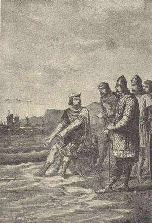 "King Canute and the tide -   ""Canute rebukes his courtiers"" by Alphonse-Marie-Adolphe de Neuville"