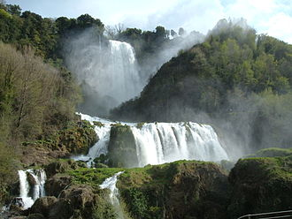 Artificial waterfall - The Marmore's Falls in Umbria, Italy, the tallest artificial waterfall in the world