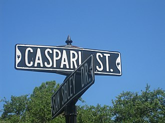 Leopold Caspari - Caspari Street sign at intersection with Sam Sibley Drive in Natchitoches, Louisiana