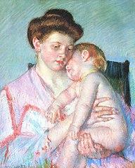 192px-Cassatt_Mary_Sleepy_Baby_1910 dans PEINTURE ET MATIERES