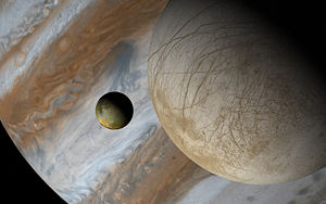 A picture of Jupiter, Europa and Io taken in Celestia