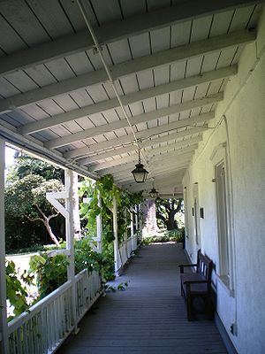 Centinela Adobe - Front porch of the adobe
