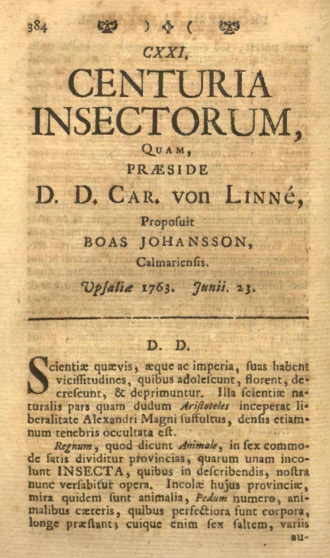 Centuria Insectorum - The first page of Centuria Insectorum, as included in Amoenitates Academicæ