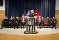 Chairman of the Joint Chiefs of Staff U.S. Army Gen. Martin E. Dempsey, at the lectern, addresses graduates of the National Defense University at Fort McNair, Washington, D.C., June 13, 2013 130613-A-HU462-096.jpg