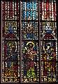 Chapelle Ste Catherine, 2e fenêtre de la chapelle depuis l'est, 1ère travée saints Jacques le Mineur, Jean et Thomas (v. 1350).jpg