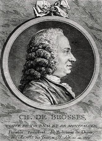 Charles-Nicolas Cochin - Charles de Brosses, comte de Tournay baron de Montfalcon, copper engraving by Cochin