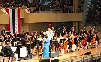 Chautauqua Institution - Singer Capathia Jenkins and conductor Stuart Chafetz perform with the Orchestra on the fourth of July.
