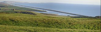 Chesil Beach - Chesil Beach, the Fleet and the Isle of Portland, from the north-west over Abbotsbury