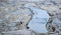 Aerial view of Chestermere in winter