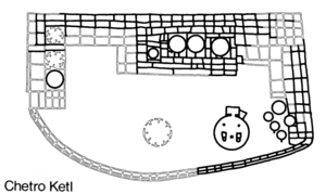 An archaeological map of the historic site, marking the locations of significant features