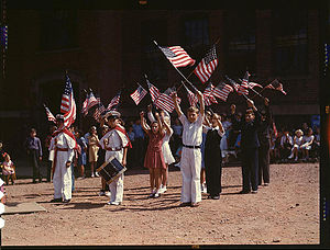 Children stage a patriotic demonstration. Southington, Connecticut, May 1942.jpg