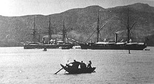Chinese fleet at anchor the night before the battle of Fuzhou 1884.jpg