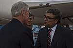 Chuck Hagel greeted by officials at IGI Airport 2.jpg