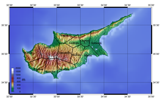 Salamis, Cyprus - Map showing the ten ancient city Kingdoms of Cyprus