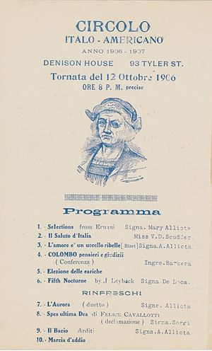 Denison House (Boston) - Circolo Italo-Americano, an Italian-American group, held cultural events at Denison House.