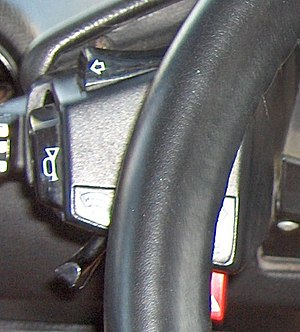 Citroën CX - No stalks - control buttons reached by hands on steering wheel
