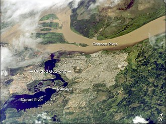 Orinoco - Orinoco River at its confluence with the Caroní River (lower left)