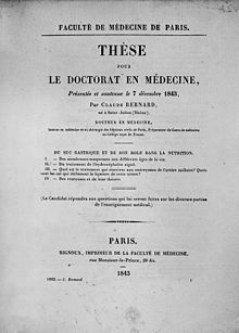 the cover of the thesis presented by claude bernard to obtain his doctor of medicine degree 1843
