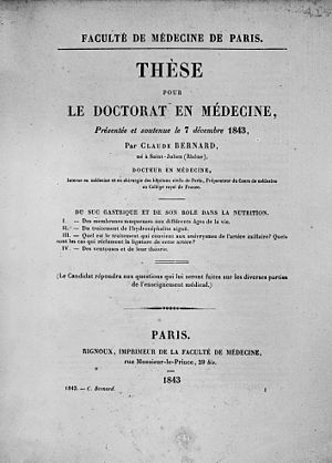 Doctor of Medicine - The thesis presented by Claude Bernard to obtain his doctorate of medicine (1843)
