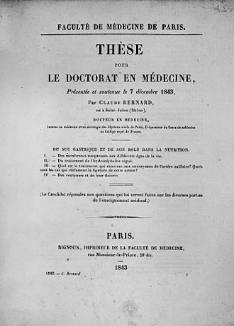 Thesis - The cover of the thesis presented by Claude Bernard to obtain his Doctorate of Medicine (1843).