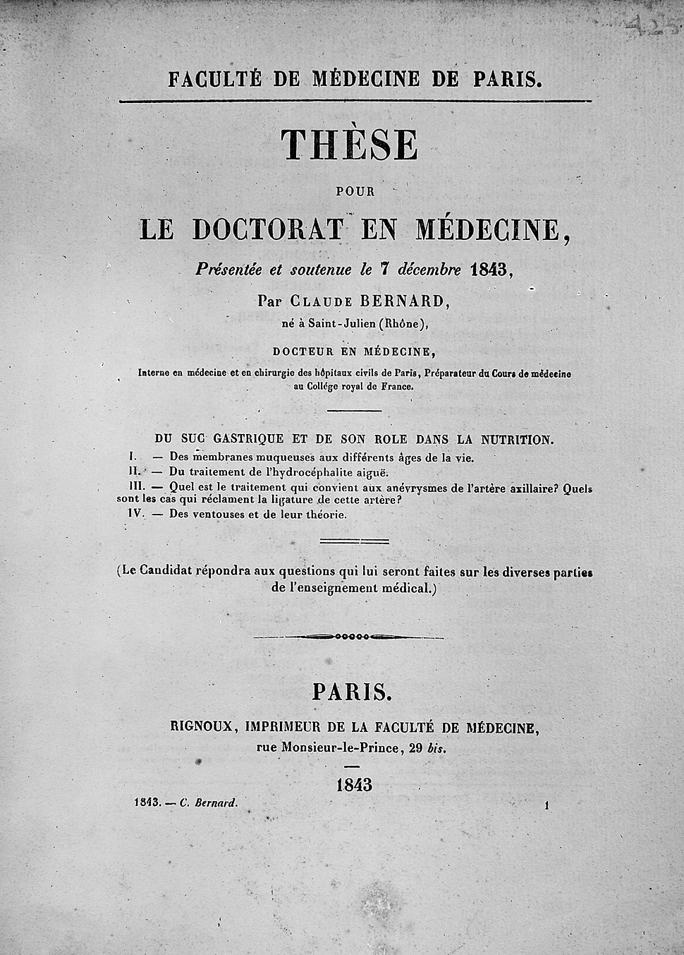 Claude Bernard%27s thesis for his doctorate Wellcome M0011459