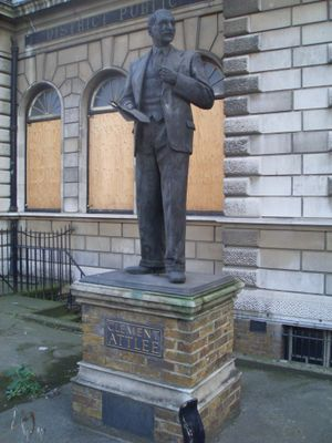 Limehouse - A statue of Clement Attlee, mayor of Stepney (1919) and MP for Limehouse stands outside the former Limehouse Library.