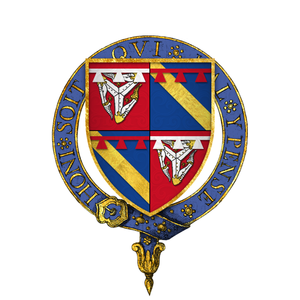 William le Scrope, 1st Earl of Wiltshire - Arms of Sir William le Scrope, KG, as depicted on his stall plate at St. George's chapel