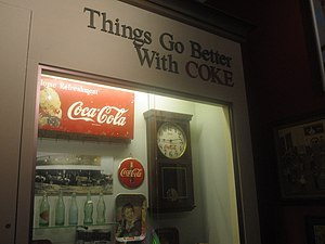 English: Coca Cola exhibit at Dorcheat Museum ...