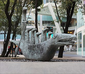 Leonora Carrington - Cocodrilo on Paseo de la Reforma.The statue was donated to Mexico City by Carrington in 2000 and was moved to its current location in 2006.
