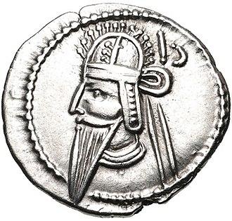 Vologases VI - Coin of Vologases VI, minted at Hamadan