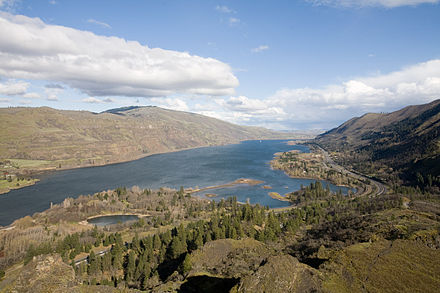 Dams on the Columbia have transformed the river into a series of slackwater pools, such as this one between Bonneville and The Dalles, as seen from Rowena Crest. ColumbiaRiverRowenaView.jpg