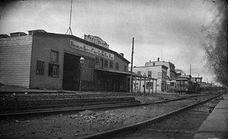 West End Line (Brooklyn surface) - A Brooklyn, Bath and Coney Island Railroad station on Coney Island from the 1870