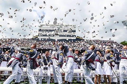 Graduates of the US Military Academy celebratring