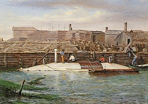 CSS David - Torpedo Boat David at Charleston Dock, Oct. 25, 1863 by Conrad Wise Chapman
