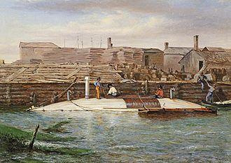 CSS David - Torpedo Boat David at Charleston Dock, Oct. 25, 1863 by Conrad Wise Chapman