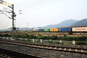 Container train in Taizhounan Railway Station.jpg