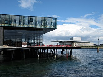The Royal Danish Playhouse (left) and Opera House (background, right) Copenhagen Theatre and Opera.jpg