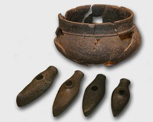 Estonia - Cord Ware, Boat Axe Culture pottery and stone axes
