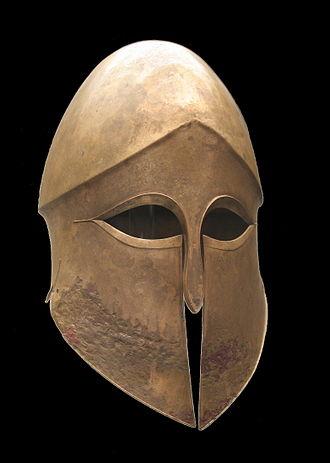 Corinthian helmet - Bronze Corinthian helmet, ca. 500 BCE, Staatliche Antikensammlungen (Inv. 4330)