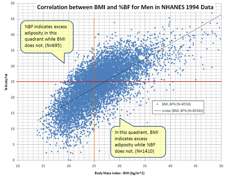 Soubor:Correlation between BMI and Percent Body Fat for Men in NCHS' NHANES 1994 Data.PNG