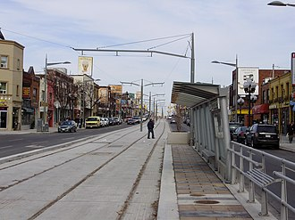 St. Clair Avenue - Looking east on St. Clair Avenue West in Corso Italia in 2009 with the nearly completed streetcar right-of-way in centre