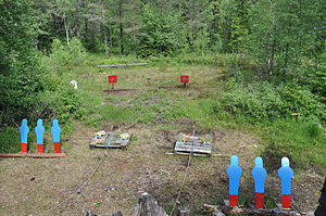 Steel target - Steel targets used in cowboy action shooting
