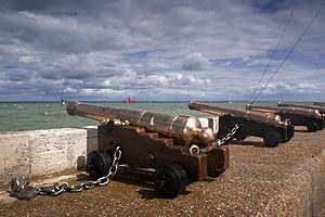 Cowes Castle - William IV's brass cannon at the castle in 2012