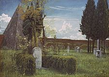 Shelley's Tomb in the Protestant Cemetery in Rome, an 1873 painting by Walter Crane. The tombstone in the foreground is actually that of John Keats; the Pyramid of Cestius is in the background.
