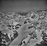 Crillon Glacier, valley glacier and hanging glaciers with icefall, September 18, 1972 (GLACIERS 5342).jpg