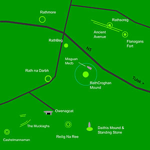 Rathcroghan - Map of the main sites in Rathcroghan