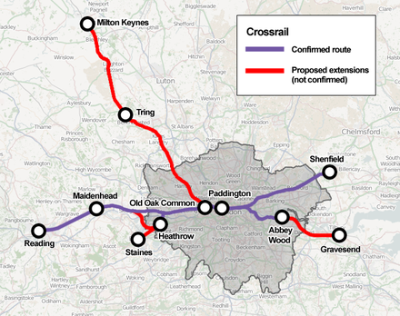 Outline map of the possible future Crossrail extensions as recommended in the 2011 RUS Crossrail extensions.png