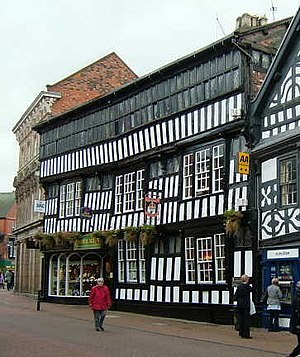 Close studding - Crown Hotel, Nantwich, an example of late 16th century close studding